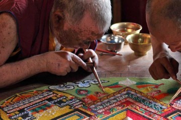 Tibetan Mandala Art - monks