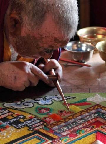 Tibetan Mandala Art - monks