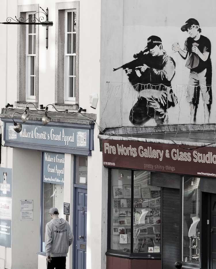 Banksy's sniper graffiti piece