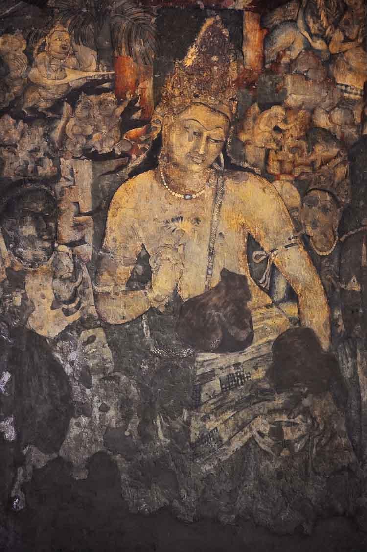Bodhisattva Padmapani Painting inside the Ajanta caves , India